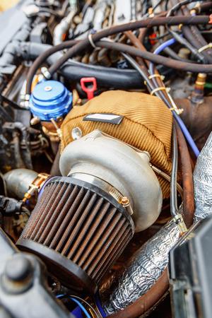 turbocharger: Turbine closeup of charged powerful car engine