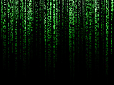 Matrix (computer generated symbols on black backdrop) Stock Photo