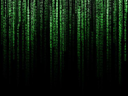 codigo binario: Matrix (símbolos generados por computadora sobre fondo negro) Foto de archivo