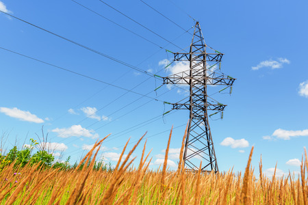 beneath: High voltage line beneath the blue sky Stock Photo
