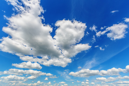 dark skies: Background of blue sky with cumulus clouds Stock Photo