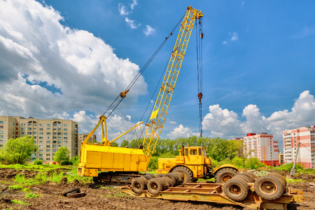 jib: Mobile crane on a background of blue sky Stock Photo