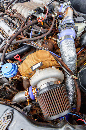 Turbine closeup of charged powerful car engine