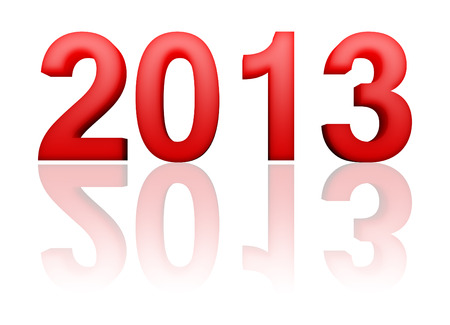 turns of the year: 2013 year with reflection on white background Stock Photo
