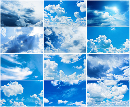cloudscapes: Collage made of many cloudscapes shoots Stock Photo