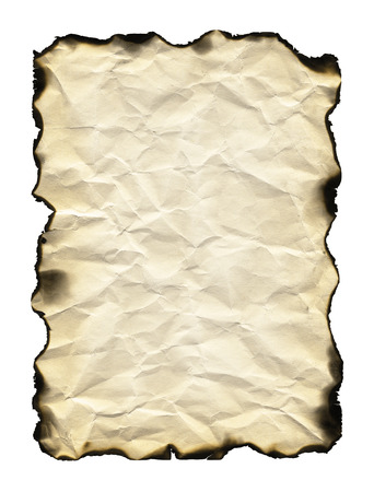 uneven edge: Old sheet of paper with burnt edges isolated on white background Stock Photo