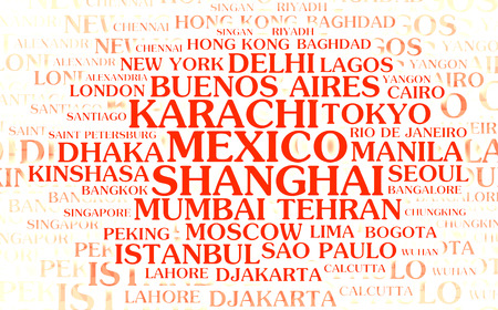 populated: The most populated cities – word cloud on white background Stock Photo