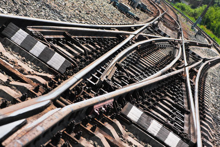 nodal: Close-up of the railway tracks complex junction