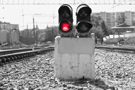 nodal: Railway signal on the semaphore showing a red light Stock Photo