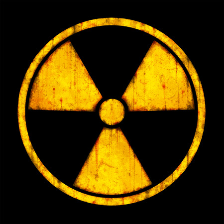 ruination: Radiation – round sign with blots and stains on black background