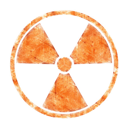 ruination: Radiation – round sign with blots and stains on white background
