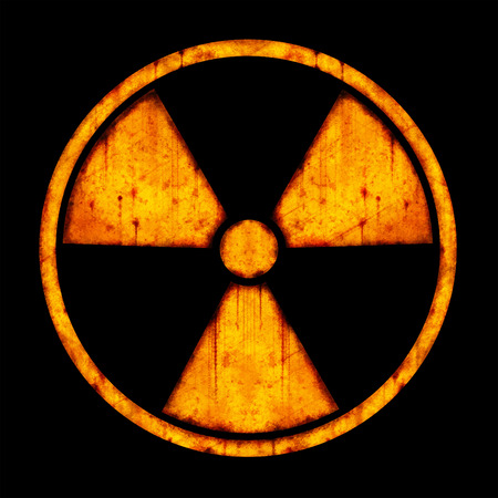 Radiation – round sign with blots and stains on black background
