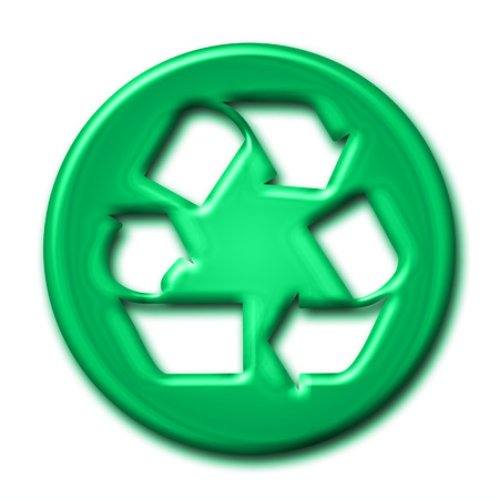 picto: Recycling symbol in green tones on white background Stock Photo
