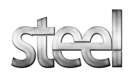 raster illustration: Lettering Steel (raster illustration on white background)