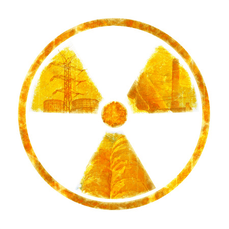 ruination: Radiation – round sign with silhouettes of industrial objects on white background