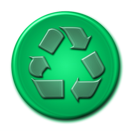 durable: Recycling symbol in green tones on white background Stock Photo