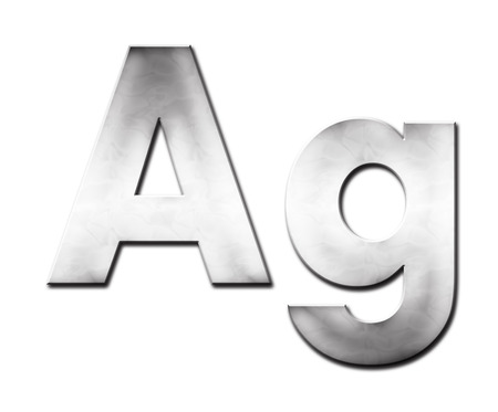 ag: Lettering Ag in silvery tones (raster illustration on white background) Stock Photo
