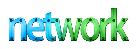 clincher: Lettering Network in blue and green tones (raster illustration on white background)