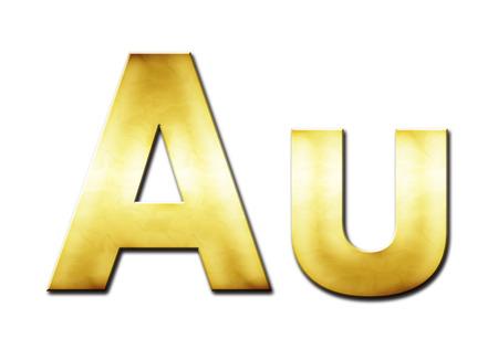aurum: Lettering Au in yellow tones (raster illustration on white background) Stock Photo