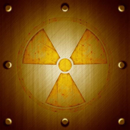 radiation sign: Radiation sign on metal surface background in orange tones