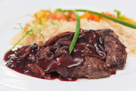 scallion: Grilled beef with sauce, rice, scallion and vegetables