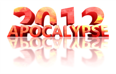 turns of the year: Concept of 2012 year with reflection on white background