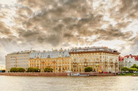 malaya: View of Saint Petersburg (Kronverksky Strait and Malaya Neva) in evening time