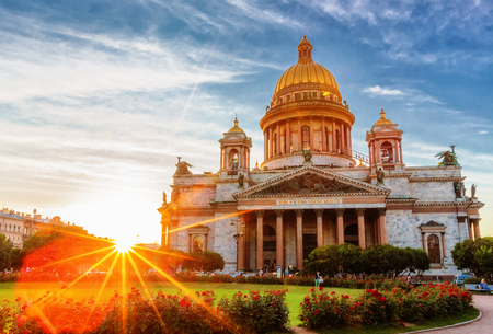 sobor: Saint PetersburgRussia - August 09, 2015: Saint Isaacs Cathedral at sunset time