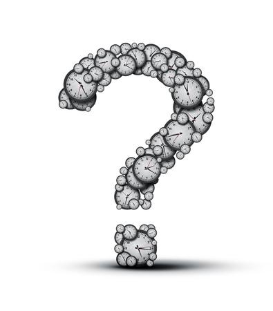 cronologia: Concepto como un grupo de relojes y relojes configurados como un signo de interrogación como una metáfora de la fecha límite o la incertidumbre