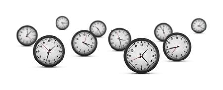 Groep van tien klokken met ondiepe dof op witte achtergrond