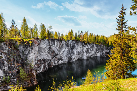 Marble quarry in Ruskeala Park in Republic of Karelia, Russia