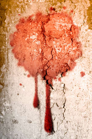 Blood blot on old wall