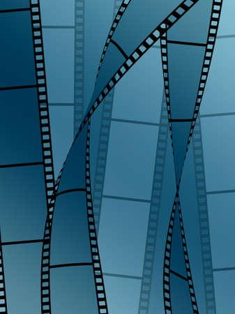 Films on blue background
