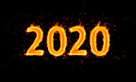 New year 2020. Flaming number on black background 版權商用圖片