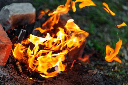 Closeup of blazing campfire coals in the evening
