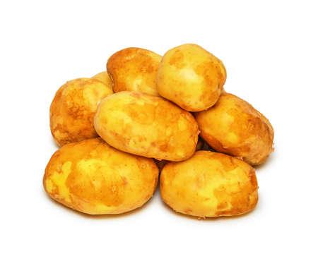 Few raw potatoes isolated on white background 版權商用圖片