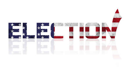 Concept on theme of USA election. Word with reflection on white background