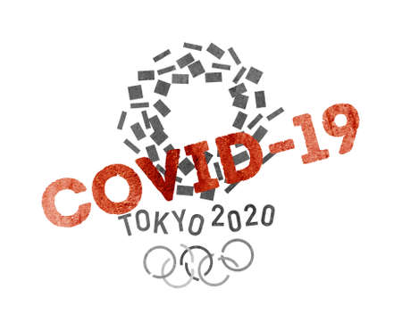 Cancel 2020 Summer Olympics in Tokyo amid worldwide  COVID-19 pandemic on a white background 版權商用圖片