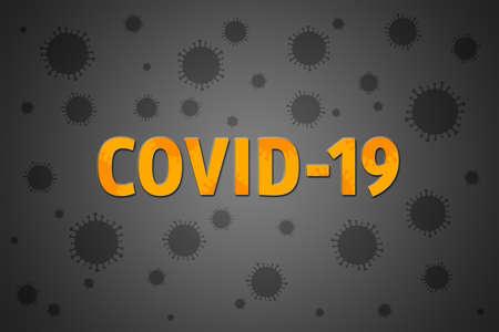 Illustration on coranavirus Covid-19 theme. Yellow word among grey virions