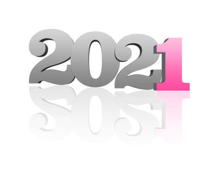 Concept of 2021 year. Numbers on white background with reflections 版權商用圖片