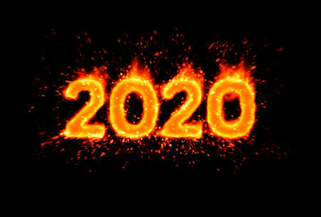 New year 2020. Flaming numbers on black background