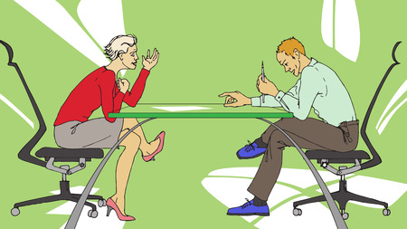 Two persons having tough discussion on business at the office Stock Vector - 7699024