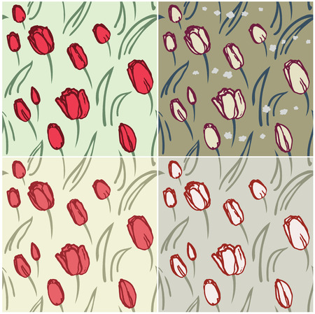 Seamless pattern of tulips with color scheme variations Vector