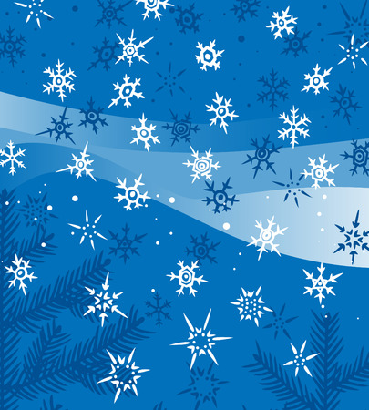 firtrees: Christmas background with vivid snowflakes and fir-trees