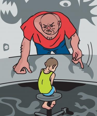 maltrato infantil: Violencia dom�stica Vectores