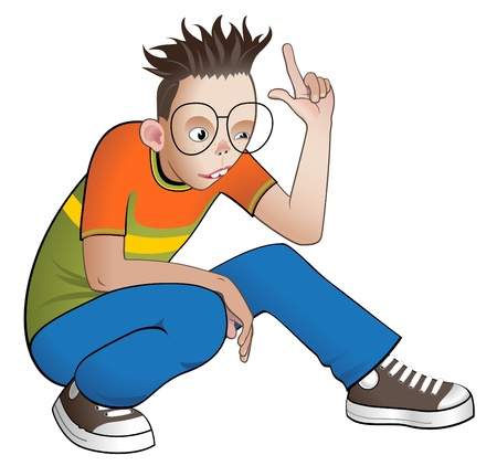 pointing up: Carino ragazzo intelligente che punta il suo dito indice. Vettoriali