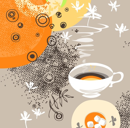 Cup of hot sweet herbal tea or other beverage. Abstract grunge background