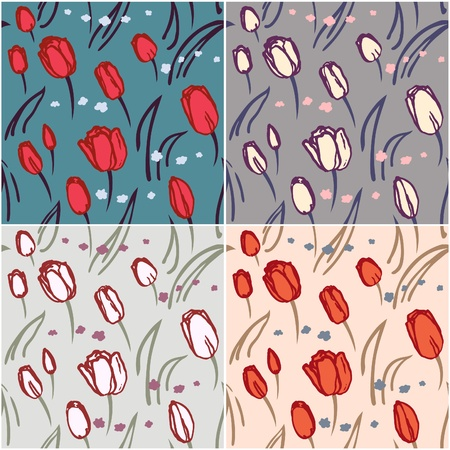 Seamless pattern of tulips with color scheme variations. Stock Vector - 10632154