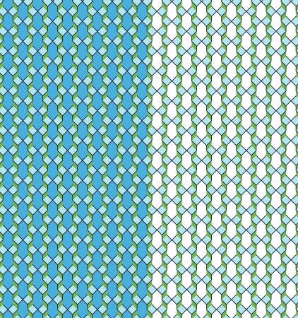 Geometric seamless pattern in blue and green with color variations