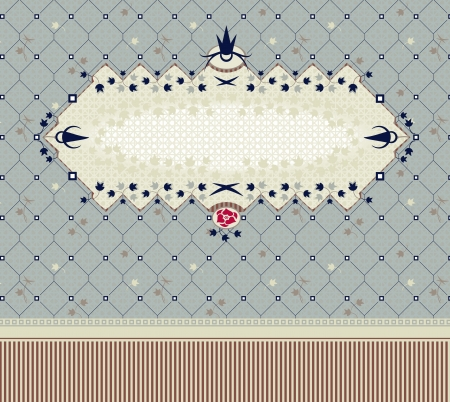 Vintage frame on seamless floral background. Use as template for invitation, cover, postcard etc. Several patterns swatches included, easy to edit and recolor Illustration